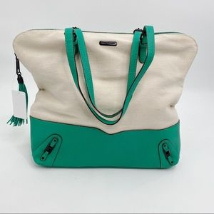 Rebecca Minkoff canvas and leather tote teal